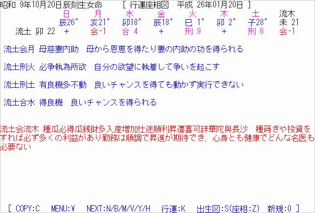 七政命理ソフト「行運座相図」